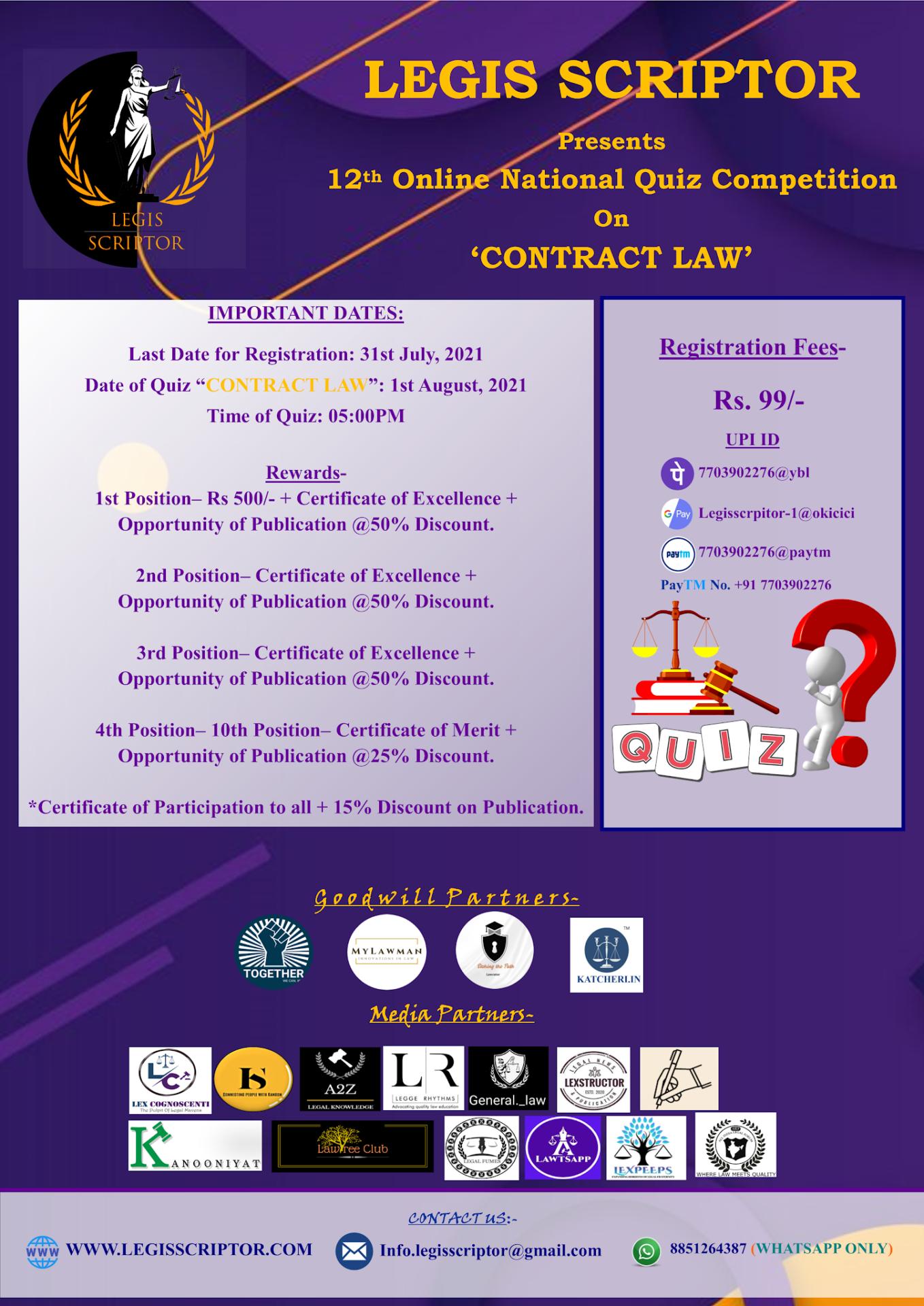 National Quiz Competition |Legis Scriptor |Register Now